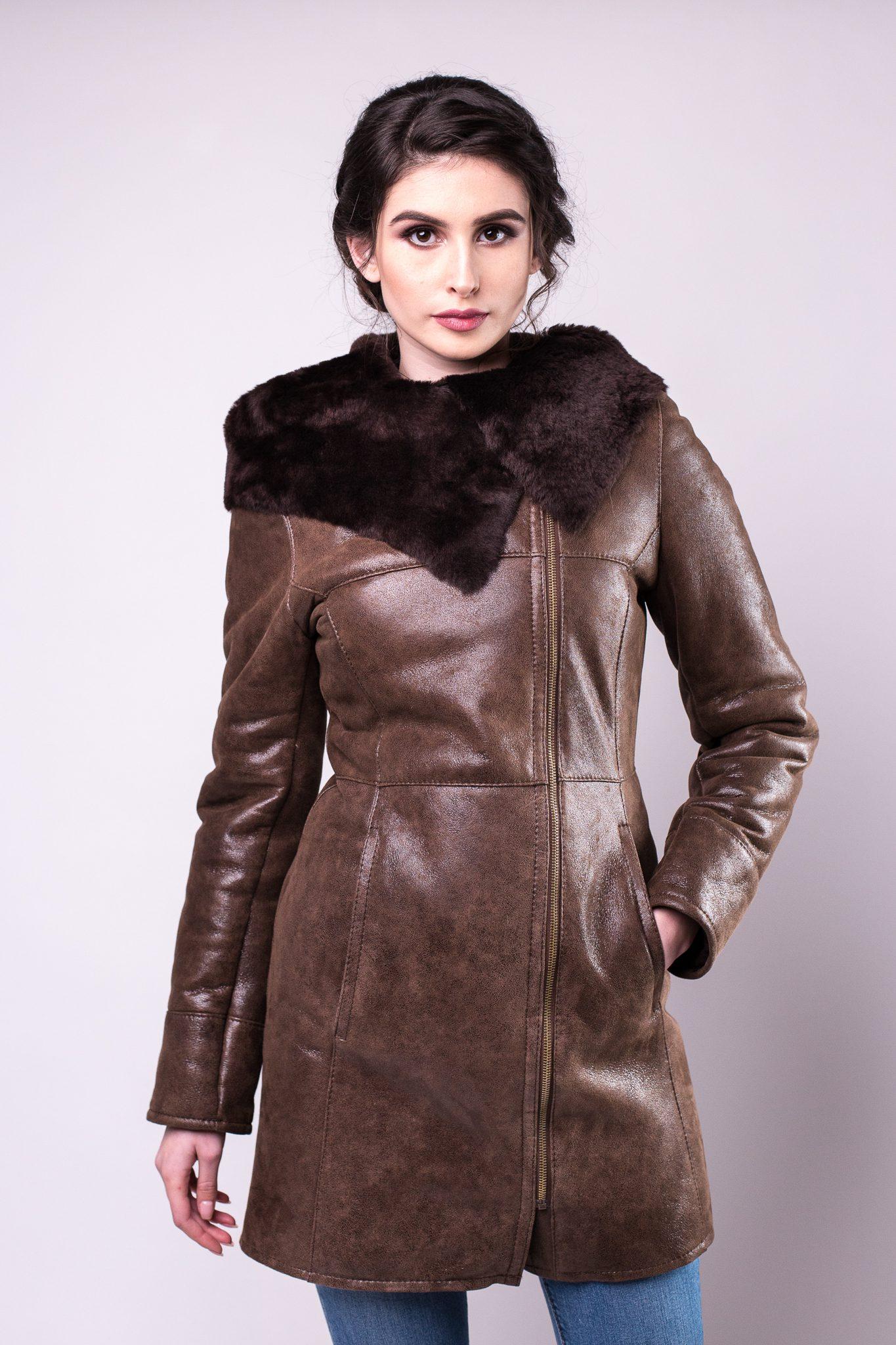 Haina de blana pentru femei model Alis maro