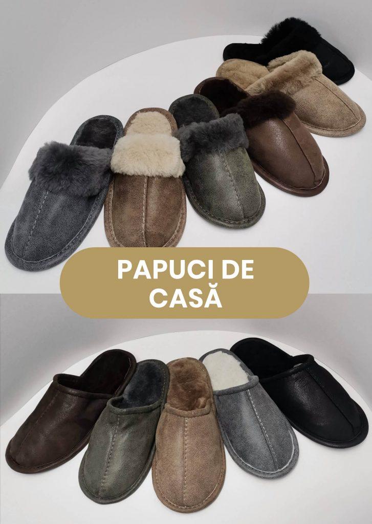Papuci de casa din piele si blana, haine de blana